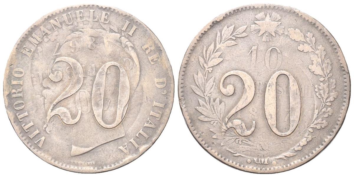 60fe5a1165 REGNO D'ITALIA - Vittorio Emanuele II, 1861-1878. - Curiosità o difetto di  conio su moneta ribattuta sul 10 centesimi di Vittorio Emanuele II 1867.