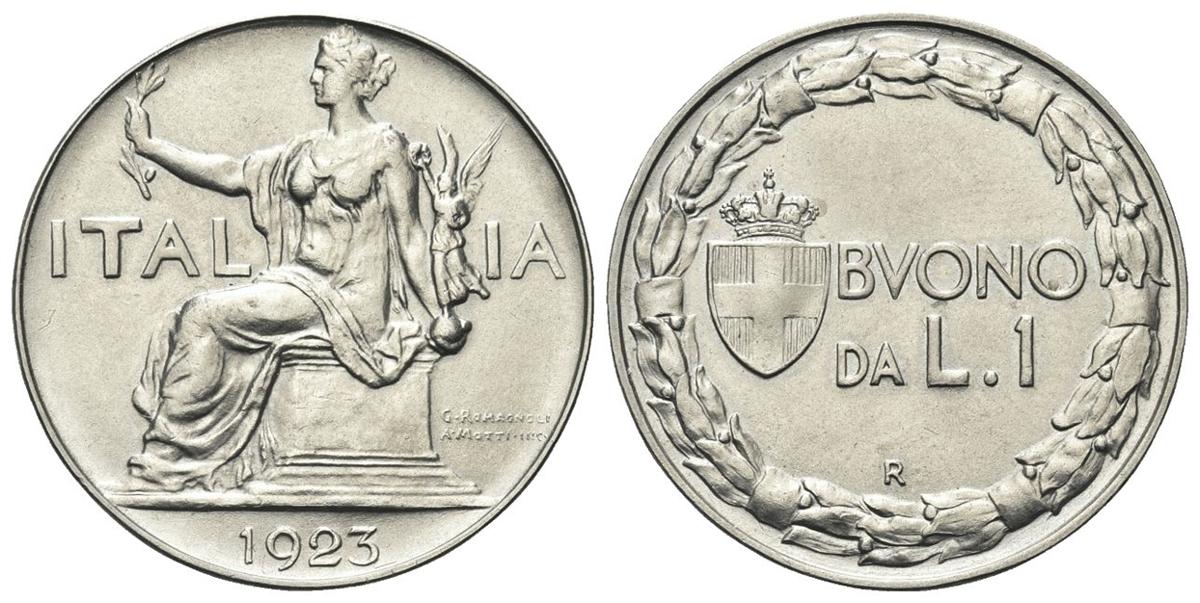38b0050a3c REGNO D'ITALIA - Vittorio Emanuele III, 1900-1943. - Buono da 1 Lira 1923  Roma, Italia Seduta.