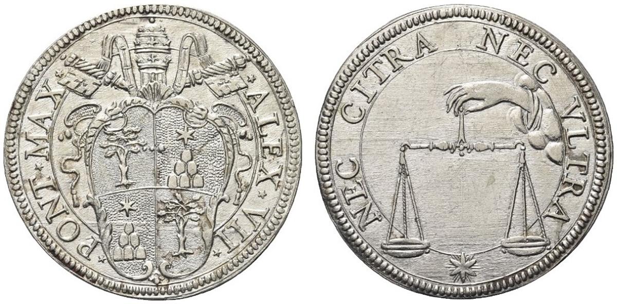 ROMA - Alessandro VII (Fabio Chigi), 1655-1667. - Testone.